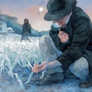 Man and frozen crops