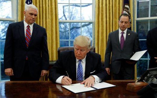 Trump signs document