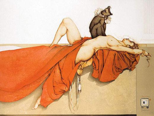 Lithographie von Michael Parkes, Schlafparalyse