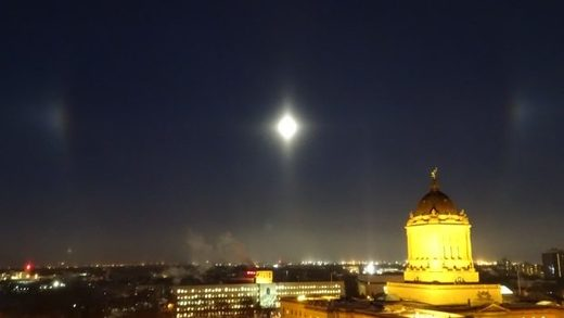 Moon dogs over Winnipeg, Manitoba