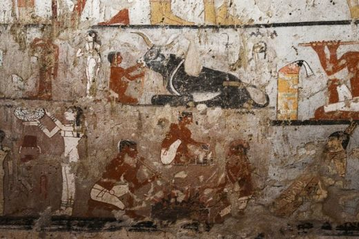 wall paintings inside the tomb of an Old Kingdom priestess