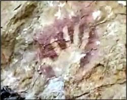 Cave-type painting on a cliff of the Sima de las Cotorras sinkhole
