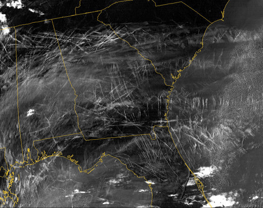 Contrails over the southeastern US sky.