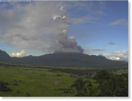 A Mt Bulusan phreatic eruption is recorded on October 23, 2016.