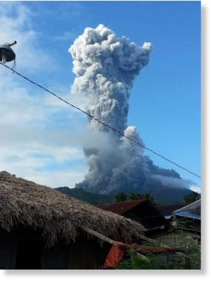 The ash column from the Mt Bulusan phreatic eruption on October 23, 2016 is 2.5 kilometers high.