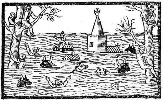 This image is a woodcut from a contemporary pamphlet (chap book) depicting the aftermath of the 1607 flood in the coastal lowlands of the Bristol Channel and Severn Estuary.