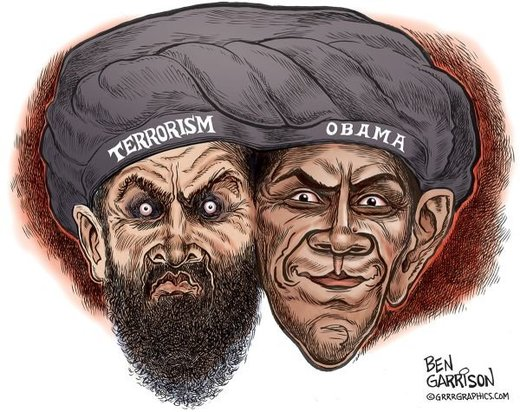 Obama political cartoon with terrorist