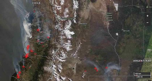 Chile wildfires from space