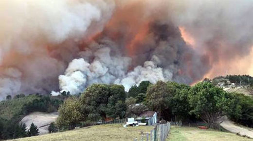 Fires burn at Buffelsvermaak farm near Knysna, South Africa