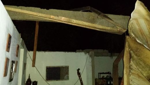 Some of the houses destroyed by a tornado that hit two localities in Negros Occidental Thursday night.