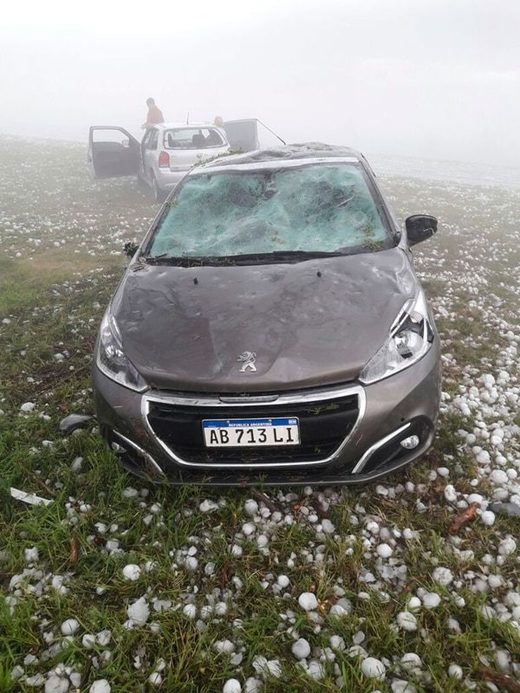 Cars damaged after freak hailstorm hit Corrientes in Argentina