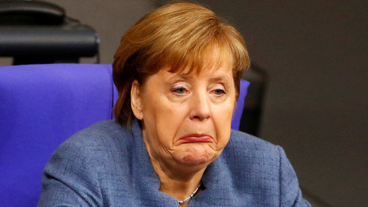 German Chancellor Angela Merkel frown funny