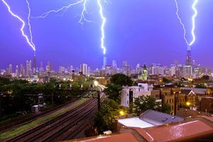 Chicago skyline lightning