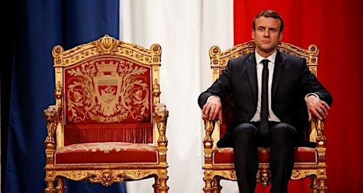macron on throne