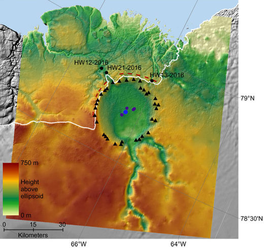 Topography of the Hiawatha crater