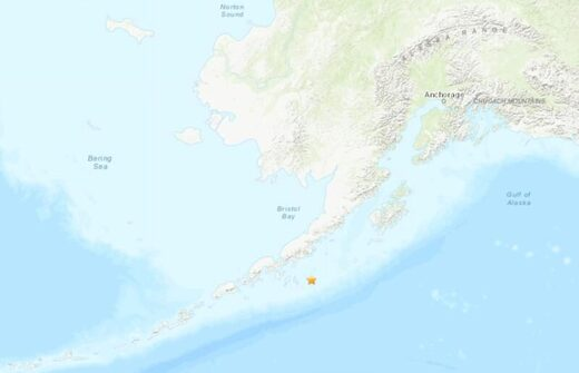 The epicentre of a 7.8-magnitude earthquake off the coast of Alaska on July 22, 2020