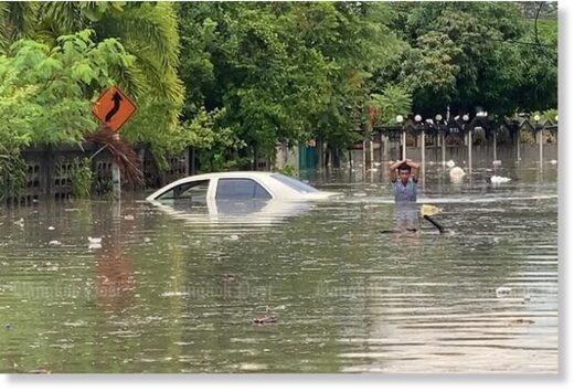 Niyom Kongsan's flooded car in Nong Yai community of Bang Lamung district of Chon Buri, after torrential rain in Pattya and other areas on Wednesday.