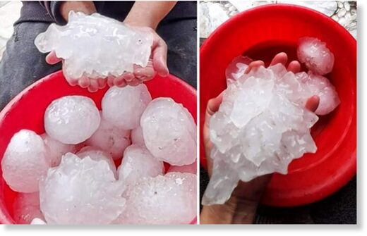 Giant hailstones. Photos reported by Saad Aldeen Hmouda