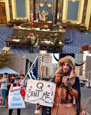 Q horns protester senate capitol